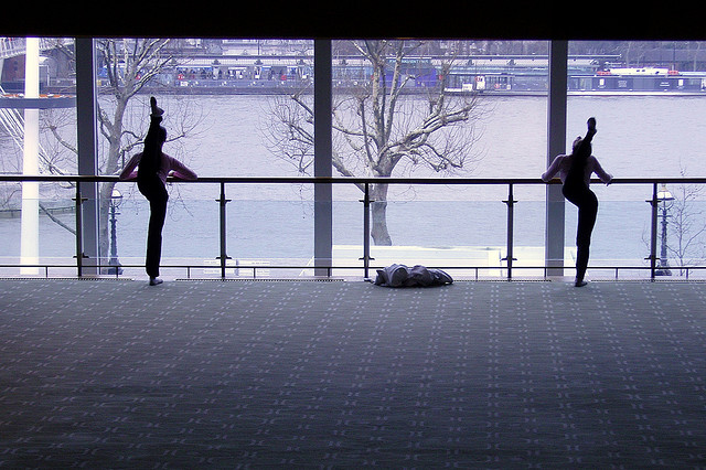 Dancers practicing at the Royal Festival Hall